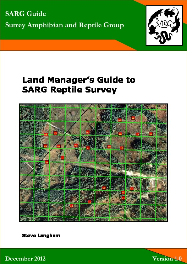 Land Managers Guide To SARG Reptile Survey