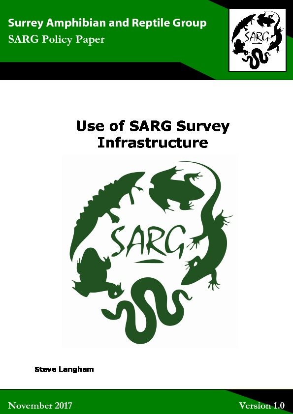 SARG Survey Infrastructure Policy